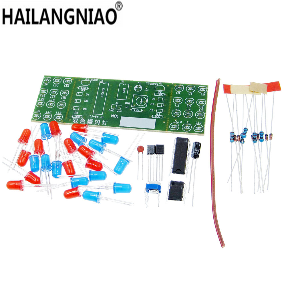1pcs NE555 + CD4017 Red Blue Double Color Flashing Lights Board Kit StrobePractice Learning DIY Kits Electronic Suite Module