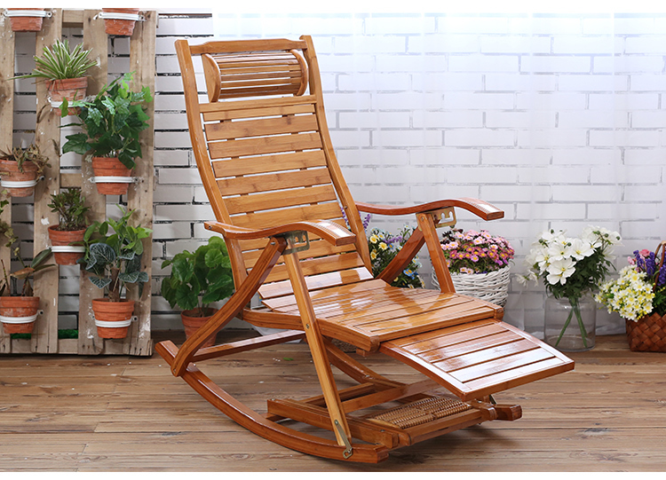 US $126.73 20% OFF|For Sell Rocking Chair Folding Bamboo Recliner Outdoor Leisure with Handle Old Man Balcony Wooden Chaise Longue|Chaise Lounge|