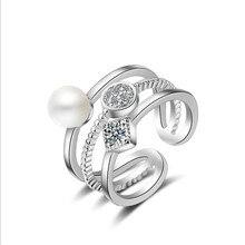 MEEKCAT кольца из стерлингового серебра 925 для женщин модные Многослойные жемчужные мозаики CZ с цирконом, изменяемого размера кольца bague anillos femme