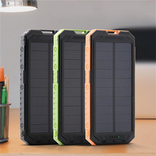 Power Bank 20000mAh Solar Waterproof  Dual USB Smartphone Charger Battery External Battery Charger for iPhone Xiaomi Samsung