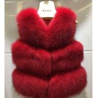 Fashion Children Real Fox Fur Vest 2017 Autumn Winter Warm Baby Waistcoats Short Thick Vests Outerwear KidsVest Waistcoats V#12