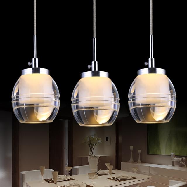 Modern Simple Led Restaurant Lights Acrylic Living Room Chandelier Creative Dining Pendant Lamp Three Heads