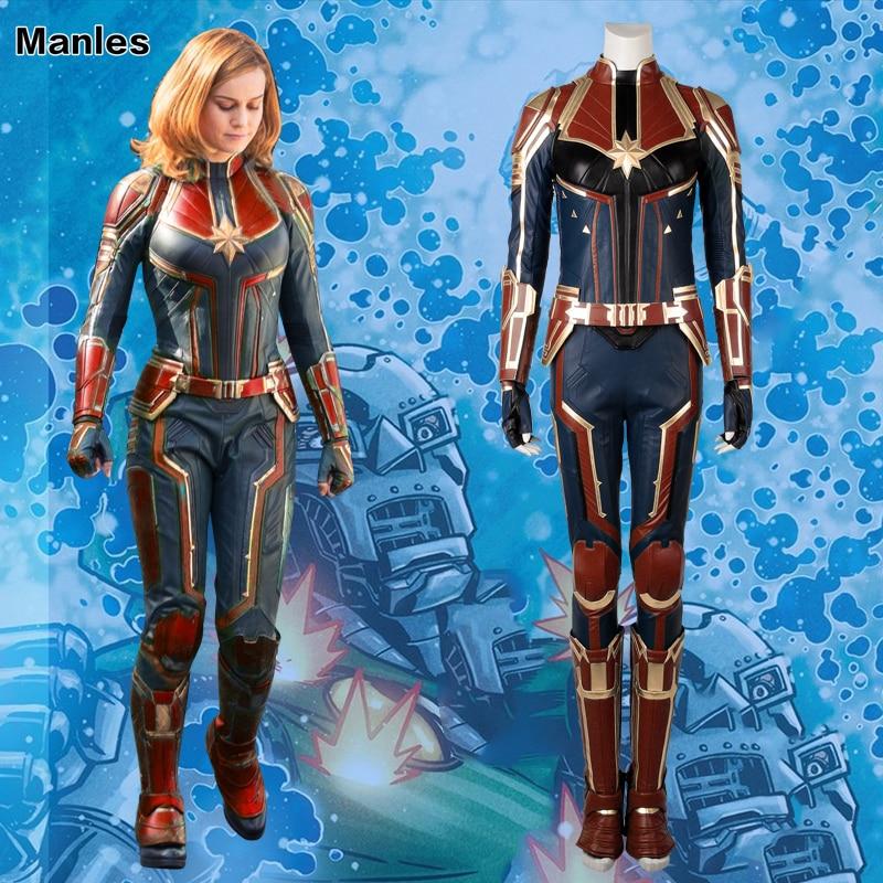 Capitaine Marvel Cosplay Mme Marvel Carol Danvers Costume Film Salopette Comics Héroïne Halloween Vêtements Pour Femmes En Cuir Adulte