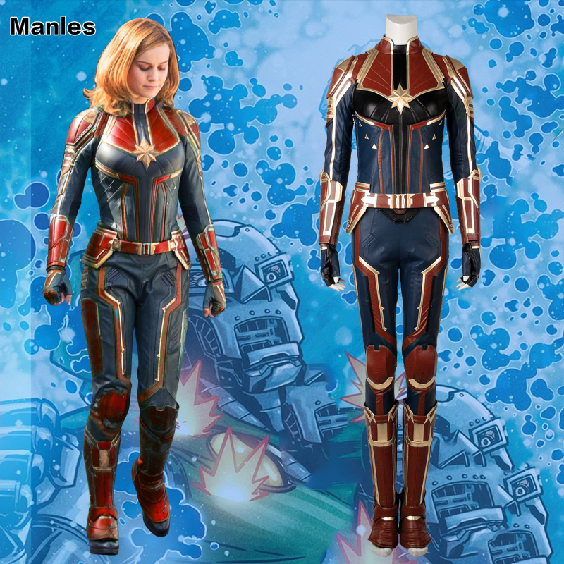 Capitaine Marvel Cosplay Mme Marvel Carol Danvers Costume Film Salopette Comics Héroïne Halloween Vêtements Pour Femmes En Cuir Adulte