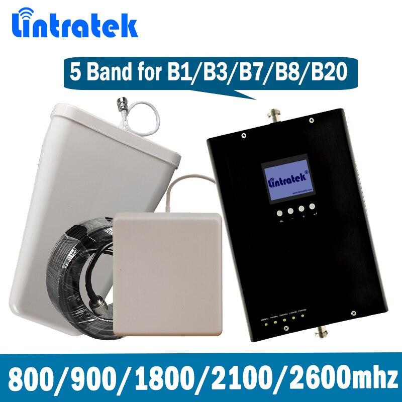 Lintratek 5 Bande Répéteur de Signal 2G 3G 4G GSM UMTS DCS LTE 800 900 1800 2100 2600 MHz B1/B3/B7/B8/B20 Mobile Signal Booster ensemble