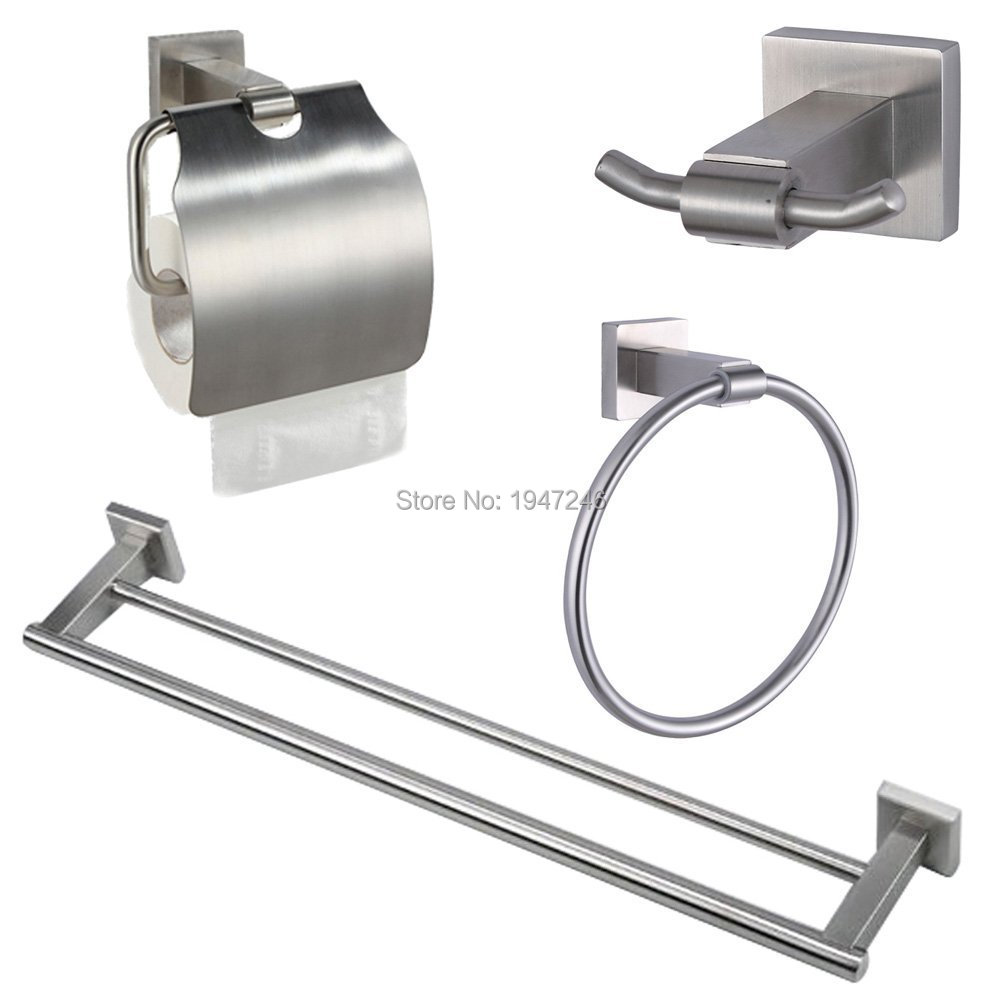 Stainless Steel Bathroom Accessories Set,Robe Paper Holder Towel Bar ...