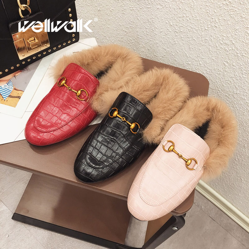 Plaid Casual Flats Shoes Women fur Mules Autumn Shoes Ladies Furry Slippers Slip On Rabbit Fur Slides Fenty Beauty Winter Shoes bailehou flats casual woman slippers fashion fur women shoes slip on mules female loafers shoes outside slides ladies slippers