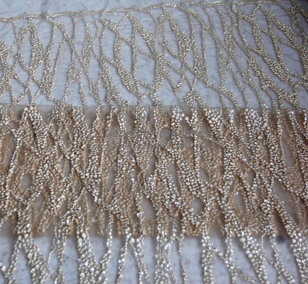 New Pink/beige/green/red/off White High Quality Sequins On Mesh Embroidered Wedding/evinging/show Dress Lace Fabric 130cm 1yard