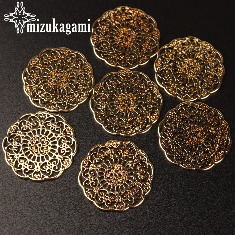 20PCS Antiqued Style Bronze Alloy Round Flower Pendant Charms 30*30mm 01178