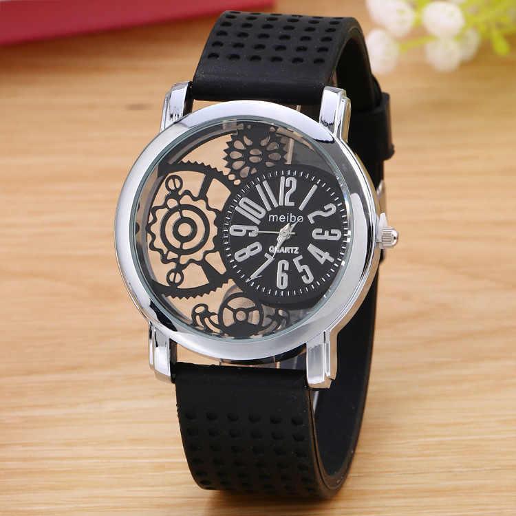 2019 nueva marca de lujo de moda Casual de los hombres reloj esqueleto vestido de las mujeres reloj de cuarzo de acero hueco Relojes hombres reloj