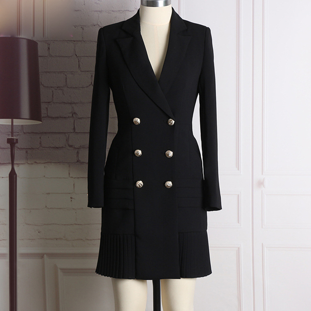 4a27ccb607 HIGH QUALITY New Fashion 2018 Runway Designer Dress Women s Long Sleeve  Notched Collar Double Breasted Buttons Dress