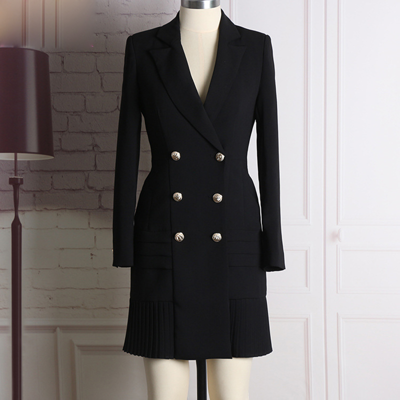 HIGH QUALITY New Fashion 2018 Runway Designer Dress Womens Long Sleeve Notched Collar Double Breasted Buttons Dress