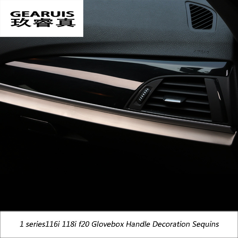 Car-styling New design stainless steel Glovebox Handle Decoration Sequins Glove box metal Chrome For <font><b>BMW</b></font> 1 series 116i <font><b>118i</b></font> <font><b>f20</b></font> image