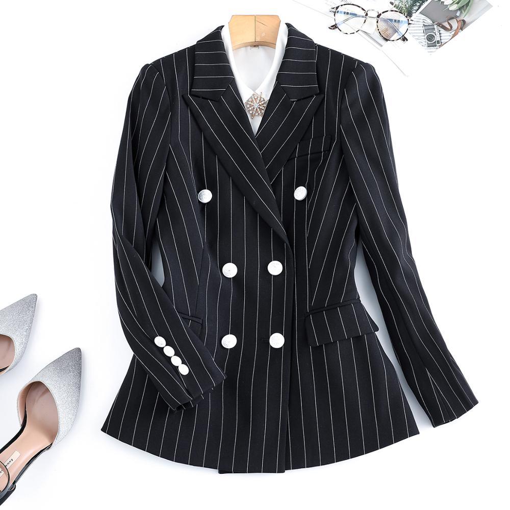 Fashion Striped Blazer Women Girl Jackets For Office Lady Airplane Hotel Outwear Work Coat Plus Size 5XL