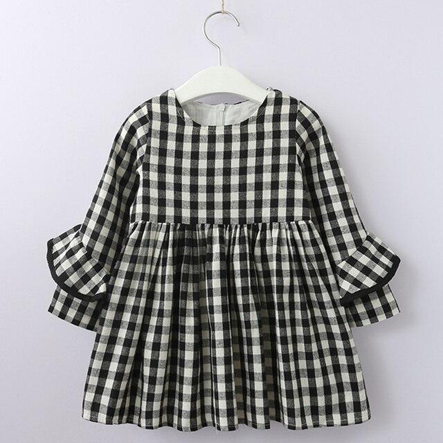 Осеннее платье для девочек, новинка 2018 года, весенний стиль, Брендовое детское платье, клетчатое Повседневное платье с принтом, одежда, От 3 до 7 лет, детская одежда в полоску, платье