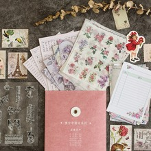 Retro Vintage Journal Diary Decorative Stickers Paper Letter Postcard Set Scrapbooking Paper Craft Statione decorative paper craft