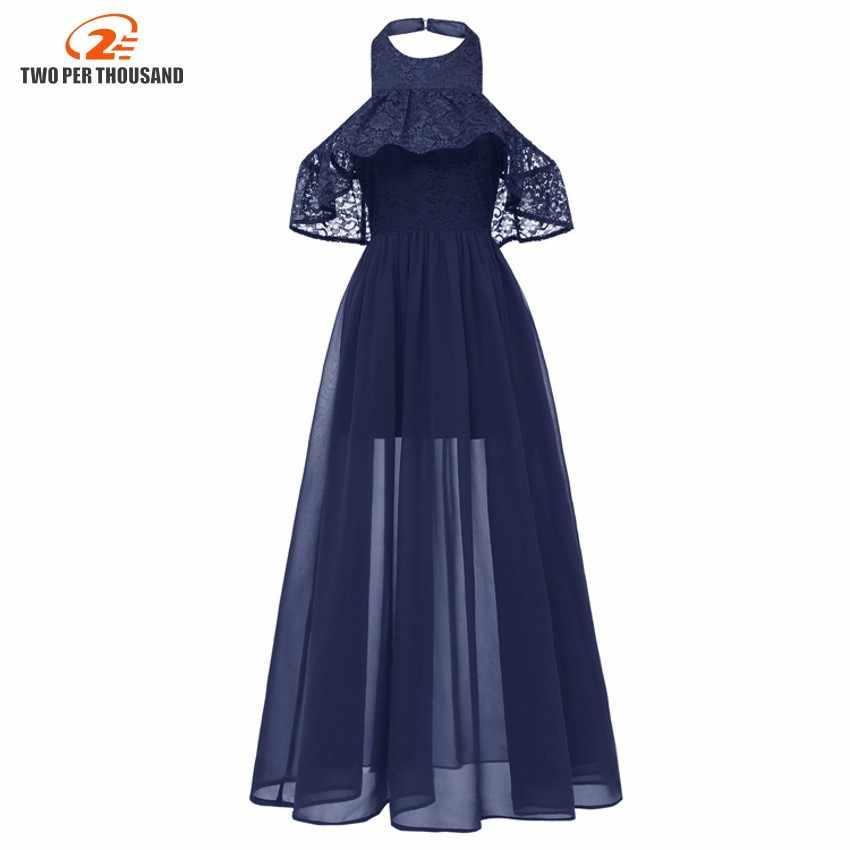 Women See Through Floral Halter Neck Elegant Lace Long Dress Sexy Maxi  Autumn Winter Evening Party d1a91594338b