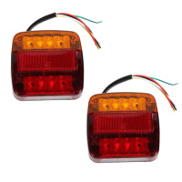 2Pcs 12V 8 LEDs Car Trailer Truck Side Edge Warning Lights Rear Tail Waterproof Lamp License