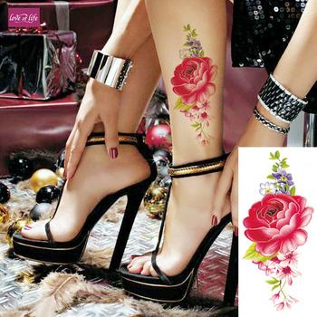 1 sztuka naklejki tymczasowe tatuaże czerwona róża kwiaty ramię ramię tatuaż wodoodporne kobiety na ciele Flash tatuaż z henny fałszywe tanie i dobre opinie Zmywalny tatuaż love of life 9*19cm TBX9010