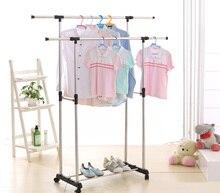IKayaa Coat Rack Metal Adjustable Width Double Rail Clothes