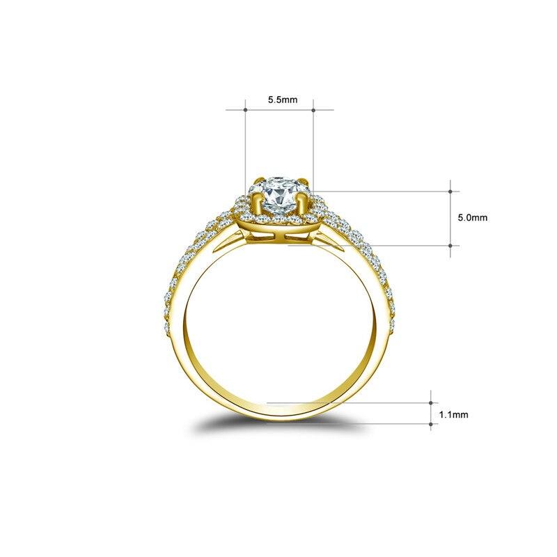 AINUOSHI Fine Double Layer Band Square Halo แหวน 14K สีขาว/สีเหลืองทอง Anillo Sona แหวนหมั้นเพชรแหวนผู้หญิง-ใน ห่วง จาก อัญมณีและเครื่องประดับ บน   2