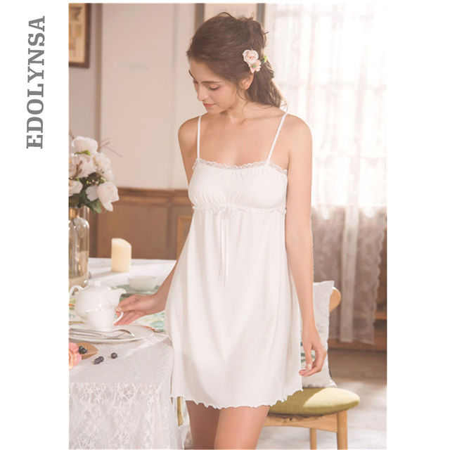 ca8aadb27 Women Sexy Underwear Lace Nightgown Cotton Nightdress Baby Doll Mini Dress  Plus Size Sexy Lingerie Sleepwear