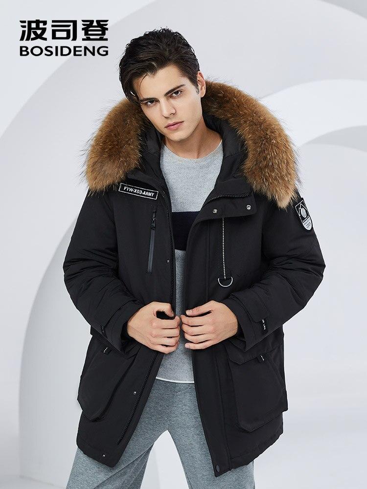 BOSIDENG 2018 новое зимнее утепленное серое пуховое пальто для мужчин пуховик большой меховой воротник парка непромокаемая большой размер B80142509DS
