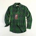 Новая Мода Мужчины Фланель Клетчатую Рубашку Марка Хлопок Рубашки Проверки С Длинным рукавом Зеленый США Размер S/M/L Случайные Рубашку Продвижение