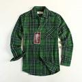 New Fashion Men Flannel Plaid Shirt Brand Cotton Check Shirts Long-sleeve Green USA Size S / M/L  Casual Shirt Promotion