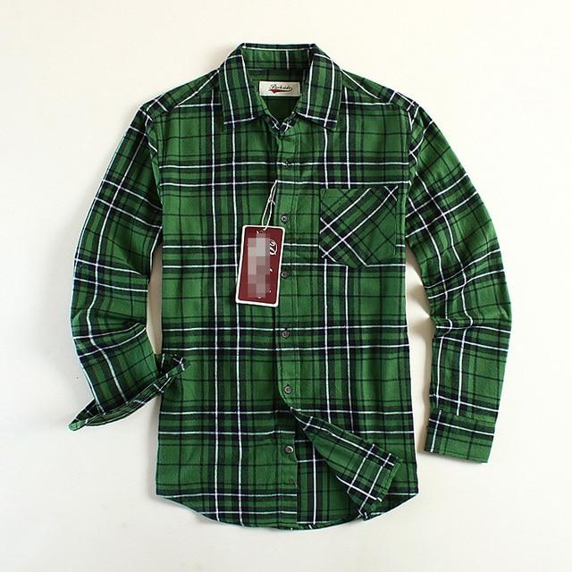 235190fcbff New Fashion Men Flannel Plaid Shirt Cotton Check Shirts Long-sleeve Green  USA Size S