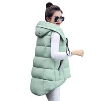 Autumn Winter Women Cotton Vest Coats New Slim Warm Hooded Parka Vests Jackets Lady Midi Long Sleeveless Waistcoat Outwear AB626