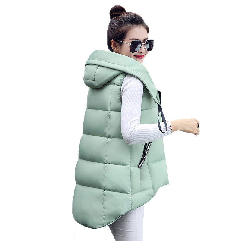 Autumn Winter Women Cotton Vest Coats New Slim Warm Hooded Parka Vests Jackets Lady Midi Long Sleeveless Waistcoat Outwear AB626