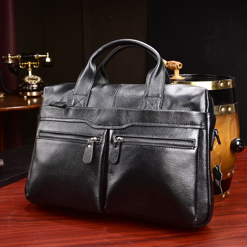 Men's Briefcase Tote Computer-Handbag Business Genuine-Leather Luxury New Cow Male