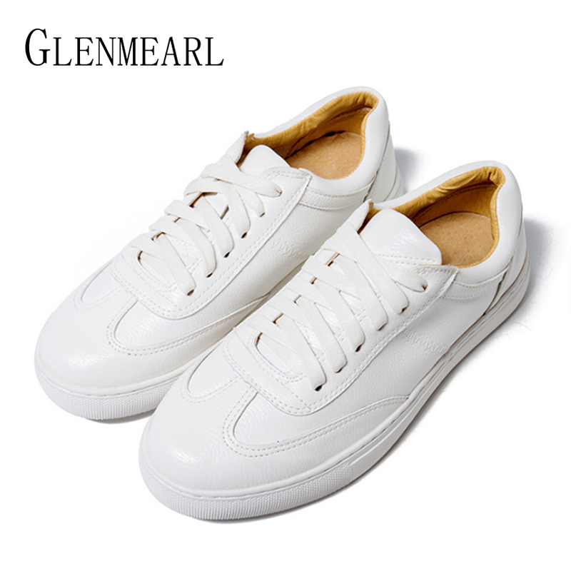 Genuine Leather Women Flats White Shoes Platform Spring Autumn Casual Shoes Woman Lace Up Plus Size Female Sneakers Driving Shoe(China)