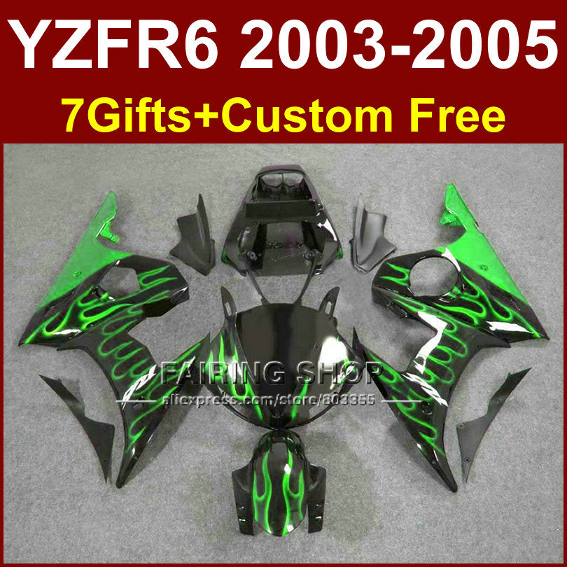 R6 custom green flame fairing parts for YAMAHA r6 Motorcycle fairings sets 03 04 05 YZF R6 2003 2004 2005 fairing kits 6YFF mfs motor motorcycle part front rear brake discs rotor for yamaha yzf r6 2003 2004 2005 yzfr6 03 04 05 gold