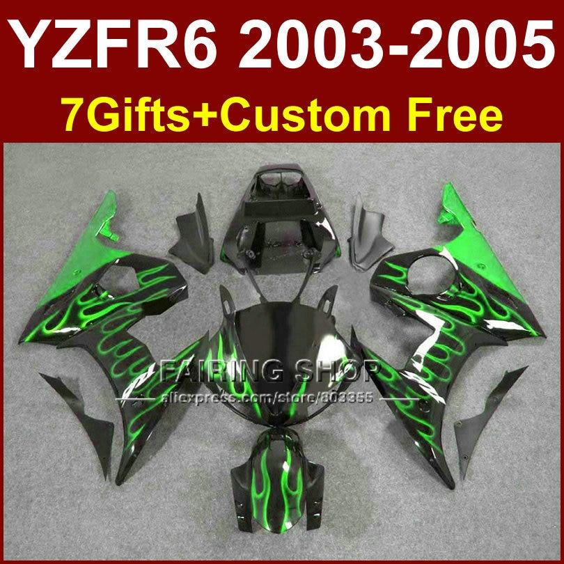 R6 custom green flame fairing parts for YAMAHA r6 Motorcycle fairings sets 03 04 05 YZF R6 2003 2004 2005 fairing kits 6YFF red black moto fairing kit for yamaha yzf600 yzf 600 r6 yzf r6 1998 2002 98 02 fairings custom made motorcycle bodywork c821