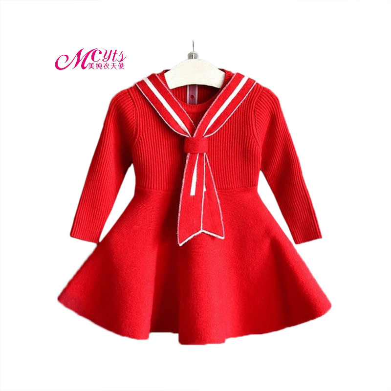 Fashion Spring Fall Baby Girls Sweater Princess Dress Cute Lnfant Knit Cotton Long Sleeve Dresses Kids Clothes 2 3 4 5 6 7 Years children s spring and autumn girls bow plaid child children s cotton long sleeved dress baby girl clothes 2 3 4 5 6 7 years