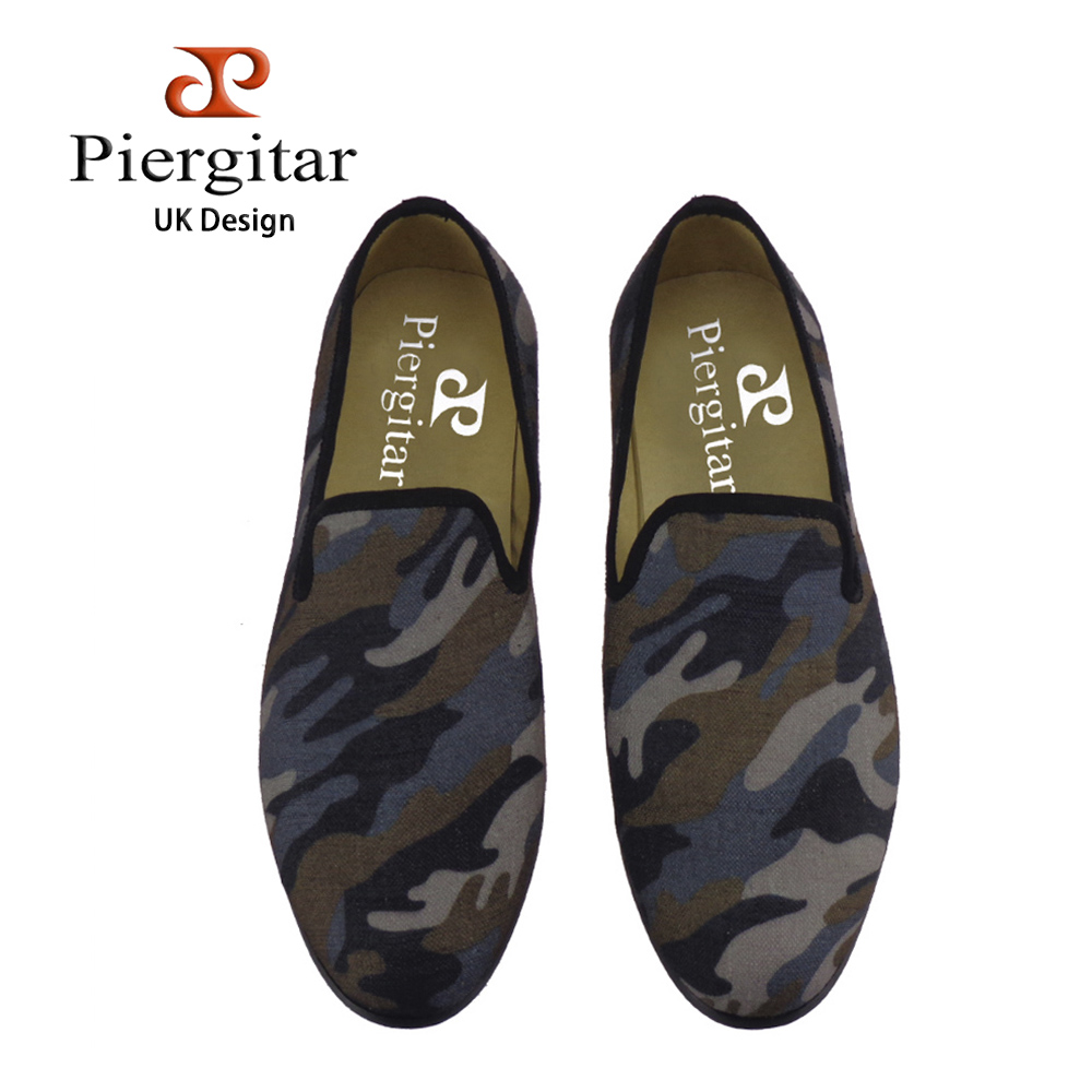 Piergitar men High-grade camouflage fabrics shoes british style casual smoking slippers Fashion Party men loafers men's flats piergitar new style leopard pattern special fabrics handmade men loafers fashion men casual shoes british style smoking slipper
