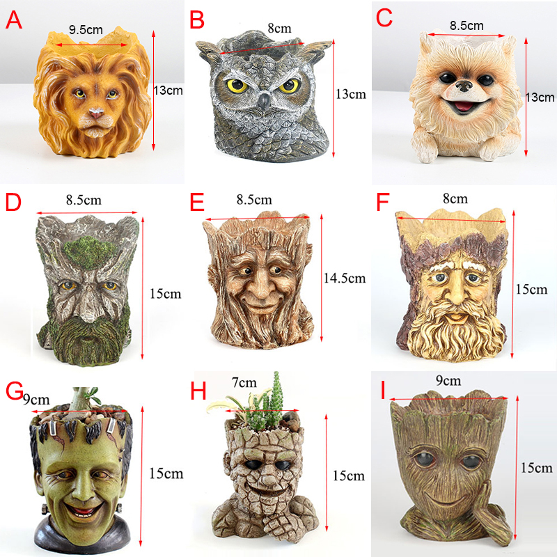 Image 5 - GLLead Groot Resin Flower Pot Cute Planter Action Figures Tree Man Creative Model Toy Pen Pot Garden Flowerpot Home Decorate-in Flower Pots & Planters from Home & Garden