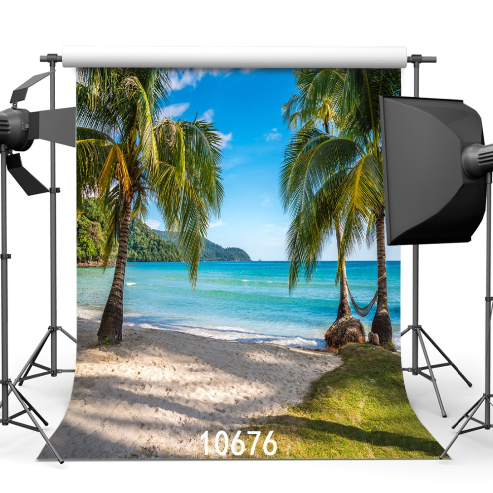 SJOLOON cielo azul y playa de mar coco fotografía fondo para niños - Cámara y foto