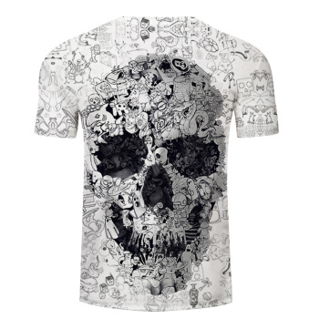 White t shirt 3D Skull tshirt Men T-shirt Male Top Summer Tee Quality Camiseta Short Sleeve O-neck Hip Hop Drop ship ZOOTOPBEAR 1