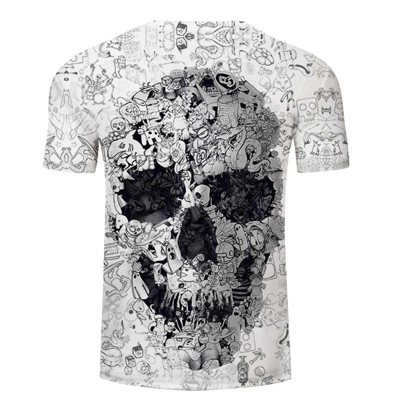 Camisa branca de t 3D Crânio tshirt Dos Homens T-shirt Masculina Top Tee Verão Qualidade Camiseta de Manga Curta O Pescoço Hip Hop Gota navio ZOOTOPBEAR