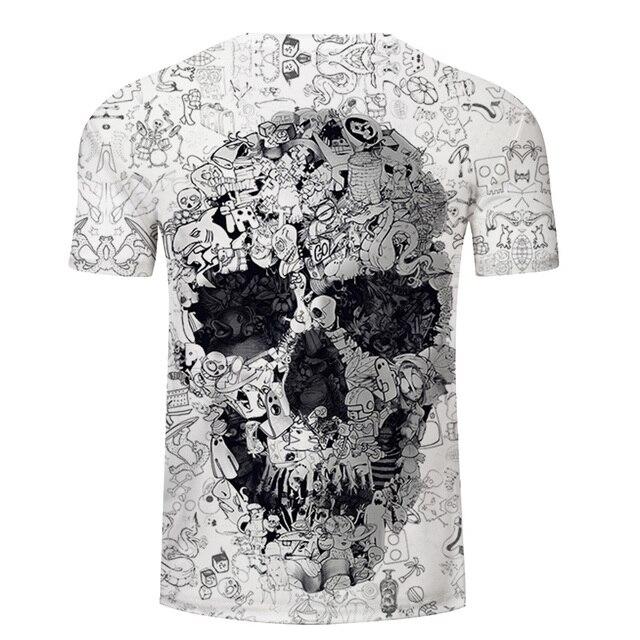Camiseta blanca 3D calavera Camiseta Hombre Top verano Camiseta calidad manga corta Camiseta cuello redondo Hip Hop gota nave ZOOTOPBEAR 1