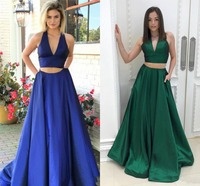 2019 Newest Two Pieces Prom Dresses Sexy Deep V Neck Special Occasion Dresses Prom Dress Evening Party Gowns Vestido de Festa