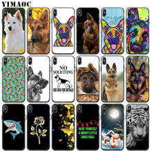 YIMAOC german shepherd dog Soft Silicone Phone Case for iPhone 11 Pro XS Max XR X 6 6S 7 8 Plus 5 5S SE 10 Black flower Cover(China)