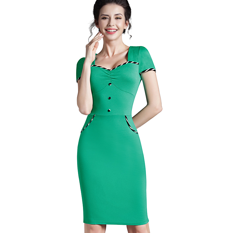 cdde121c43 Nice-forever Fitted dress Women's summer Brief Pinup Short Sleeve Square  Neck Work Button Bodycon Chic Pencil Dress bty729