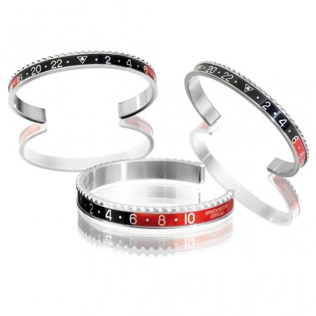 1pcs fashion steel red black open bracelet cuff bangle initial speedometer bracelet women men B0087