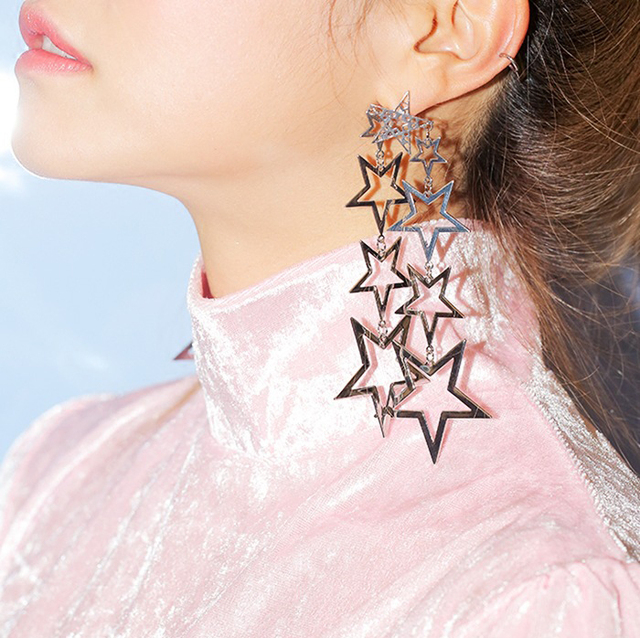 376e37232 Women's Exaggerate twinkle stars five pointed star Long Drop Earrings  modern stylish fashion jewelry accessories drop