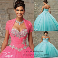 Sweet 16 Dresses Sage Cheap Quinceanera Gowns with Jacket Crystals Vestidos de Quinceanera Dresses Ball Gowns 2015 Lace up Back