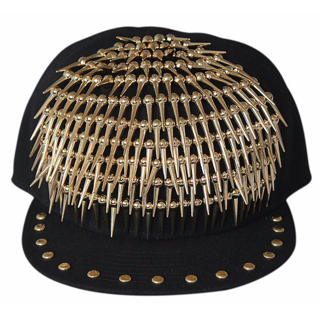 0b10423ccf4 New Arrival Adult Jazz hat snapback cap Men  Women Rivet Cap Hat Punk style  Rock